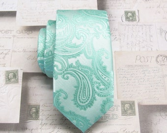 Mens Ties Pastel Mint Pale Green Paisley Mens Silk Skinny Necktie Wedding ties. With Matching Pocket Square Option
