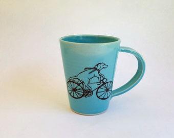 Handmade Porcelain Mug, Made to Order, Dog Riding a Bike Mug, Dog Lover Mug, Dog Illustration, Coffee Cup, Gift for Dog Person
