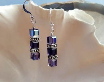 Purple Swarovski Crystal Cube Dangling Earrings - Modern Elegance