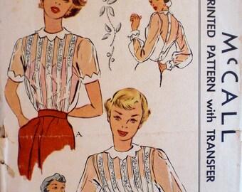Vintage 1950s Petal Collar Sheer Blouse Pattern McCall 1595 Bust 34