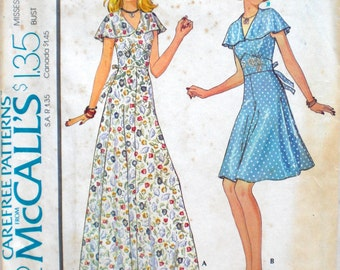 Vintage Flutter Sleeve Dress Pattern McCall's 4392 Bust 34 Factory Folded 1970s Does 1930s