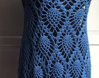 Crochet pineapple lace tunic cotton bamboo