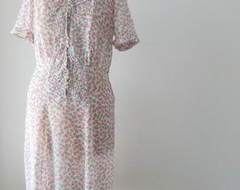 1940s sheer dress / floral 40s dress / rhinestone button dress XL