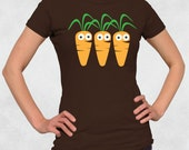 Ladies' Tee - 3 Carrots Women's Shirt (No Text)- Sizes S-M-L-XL-2XL - Cute Food Baby Carrot Veggie Vegetable Vegetarian Vegan Girl Tshirt