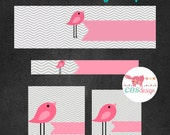INSTANT DOWNLOAD - DIY Blank Etsy Banner Set - Premade Etsy Banner Set - Shop Icon Size Included - Pink Chevron Birdie