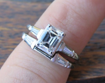 18k White Gold Emerald Cut Diamond Engagment Ring and Wedding Band. VS Stones .91ct  1.21ctw Appraisal included