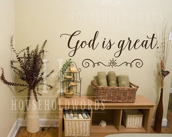 God Is Great Vinyl Wall Decal Words, Religious Wall Decal Decor, Church Preschool Classroom Wall Decorations, Self Adhesive Vinyl, Sunshine