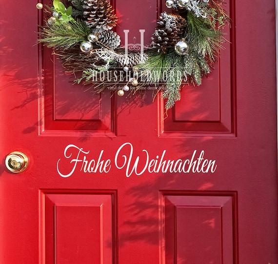 Frohe Weihnachten Vinyl Decal Door Decor, Merry Christmas, German Decals, German Holiday, German Teacher Classroom Decorations, German Words