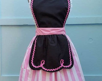 retro apron  black and pink 50s DINER WAITRESS ...ice cream parlor fifties hostess bridal shower gift vintage inspired flirty chalkboard
