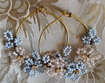Lilygrace Small French Beaded Flower Hoop Earrings with Vintage Rhinestones and Vintage Glass Seed Beads