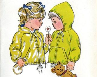 Kwik Sew 956 Toddler Childrens Hooded Jacket Raglan Sleeves Zip Front Size T1 T2 T3 T4 Uncut Vintage Sewing Pattern