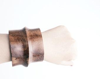 Vintage Wide Cuff Bracelet | Modernist Wood Cuff | Sculptural Wooden Bracelet