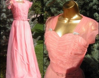 "30s 40s Dress Long Gown Pink Shirred Dress - Rhinestone Brooch Accents - Bust 36"" Small"