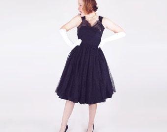 50s Black Chantilly Lace & Taffeta Circle Skirt Party Dress S