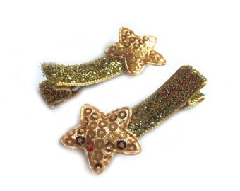 Gold Star Hair Clips Gold Hair Clips Gold Glitter Hair Clips Gold Sequin Hair Clips Baby Hair Clips Baby Girl Hair Clips Toddler Girl Clips