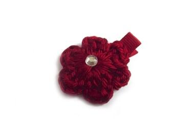 Red Wine Hair Clip Crochet Flower Hair Clip Alligator Clip Baby Girl Hair Clip Simple Hair Clip Burgundy Hair Clip Bordeaux Hair Clip