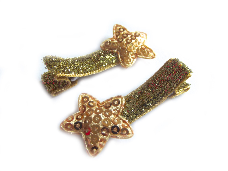 Gold Star Hair Clips Gold Hair Clips Gold Glitter Hair Clips