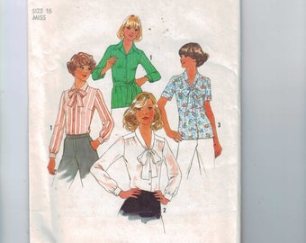 1970s Vintage Sewing Pattern Simplicity 7896 Secretary Blouse Bow Neck Tie Belt Shirt Top Size 16 Bust 38 UNCUT 1977 70s