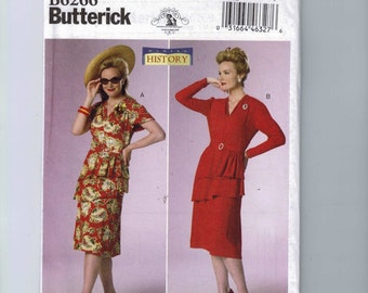 Misses Sewing Pattern Butterick B6266 6266 Making History 1940s Retro Style Dress Costume Size 6-14 14-22 Multisize UNCUT