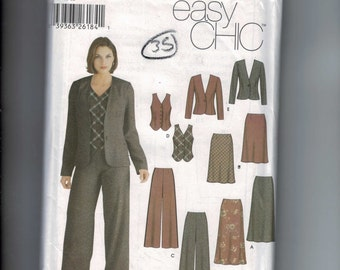 Misses Sewing Pattern Simplicity 5792 Misses Easy Chic Fitted Jacket Vest Skirt Wide Leg Pants Size 4-6-8-10 UNCUT