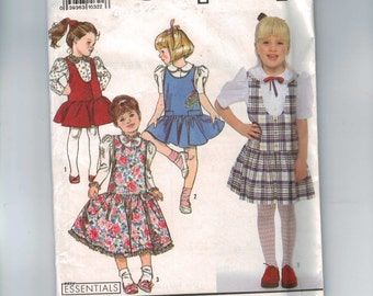 Kids Sewing Pattern Simplicity 9757 Girls  Jumpers and Blouse Size 3 4 5 6 6X Breast 22 23 24 25 26  1990 UNCUT  99