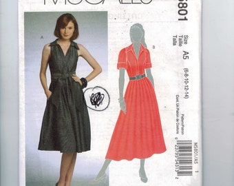 Misses Sewing Pattern McCalls M5801 5801 Dress and Sash Full Skirt Size 6 8 10 12 14 UNCUT