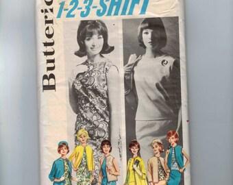 1960s Vintage Sewing Pattern Butterick 2624 1-2-3- Shift Dress Jacket  Size 14 Bust 34 60s