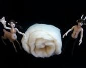 4oz White Wool Batt- Organic Core 'Eco-Wool' for Needle Felting & Crafts