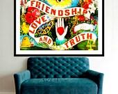 Friendship Love Truth Poster Digital Download Original Collage Ephemera Altered Art Vintage Photo Print Steampunk Inspirational Aqua Blue