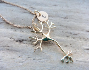 Neuron Brain Pendant- Personalize Custom Initial NeuroScience Necklace- Science Thinker Gold Neuron Aluminum Stamped Jewelry