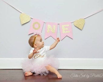 First Birthday Outfit Girl, Pink and Gold Cake Smash Outfit Girl, 1st Birthday Outfit Girl, SEWN Tutu Skirt Set, Tulle Skirt, Pink Tutu