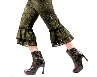 Capris, Medium or Large, Dark Green and Black with Ruffles, Fusion, Festival, Punk, Tribal, Bellydance, Alternative