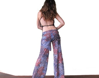 Sheer Shimmy Flow Pants - Black and Red