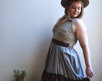 Halter Dress size L, Upcycled Shirt Dress, Repurposed Shirt Dress, Halter Dress,Mixed Print Dress