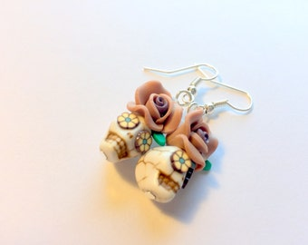 Brown and White Day of the Dead Rose and Sugar Skull Earrings Small