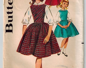 Vintage 60s Girls' Jumper and Blouse Set Sewing Pattern Size 8 Peter Pan Collar Full Skirt Front Cut on Bias Patch Pockets Self Tie Belt