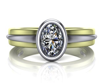 Oval Diamond Engagement Ring in Two Tone Green Gold Bezel Setting