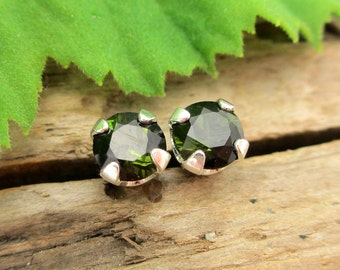 Black Green Tourmaline Studs - Genuine Tourmaline Stud Earrings in Real 14k Gold, Sterling Silver, or Platinum - 3mm, 4mm
