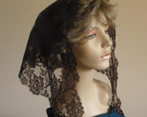 Brown Lace Mantilla Headcovering Triangle Chapel Veil -- ECONOMICAL Style -- Ready to Ship!