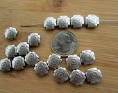 10 Metal Beads, 12mm Silver Square Cross, Southwest Style, Double Sided Design, 1mm Hole - bm47