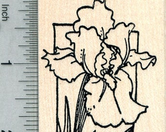 Iris Flower Rubber Stamp, Summer Floral Series H30716 Wood Mounted
