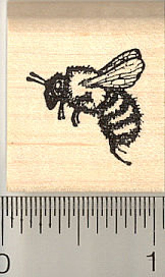 Small Detailed Honey Bee Rubber Stamp A3310 Wood Mounted