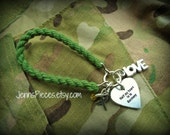 BRACELET Half my heart is in GERMANY or AFGHANISTAN deployment Boot Band Blouser Charm Bracelet SSG49 Army Marines navy sailor Red Friday