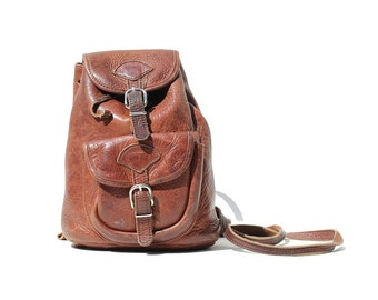 Vintage thick brown Leather Backpack / Small Backpack