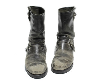 Vintage Distressed Men's Leather Riding Boots / Steel Toe Chippewa Boots / size (11)