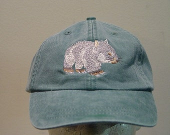 WOMBAT HAT - One Embroidered Australia Wildlife Cap - Price Embroidery Apparel - 30 Color Caps Available