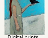 Digital Print. Girl & Bird Figure Painting. Wall Art Prints. Be Still Child. Child's Room Print. Children Wall Decor