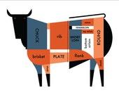 "Butcher Shop Meat Cut Chart 22x17"" Art Print by Raymond Biesinger"