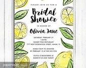 Lemon Bridal Shower Invitation, Lemon Invitation, Modern Lemon Bridal Shower invitation, Personalized Digital Printable File,  Item 190B