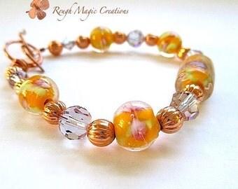 Peach Lampwork Bracelet. Boho Bracelet. Bohemian Jewelry. Orange, Purple Lilac. Swarovski Crystals. Copper Toggle. Chunky Stackable Bracelet